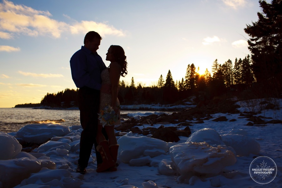 a wedding on the north shore of Lake Superior in the winter outdoors