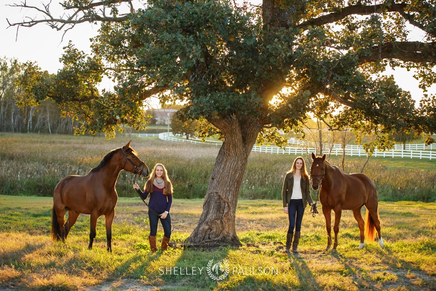 Emily and Olivia – Senior Twins with their Horses