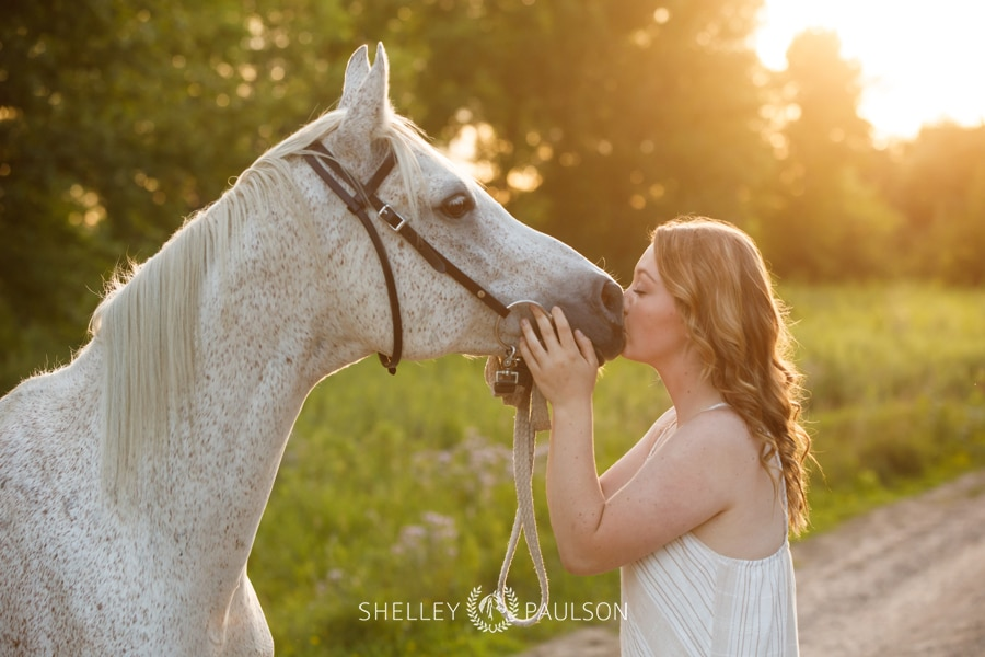 High School Senior Girl kissing Horse