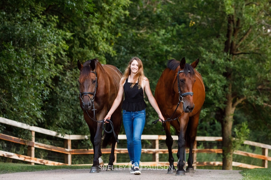 Brittney's Senior Photos with her Two Horses