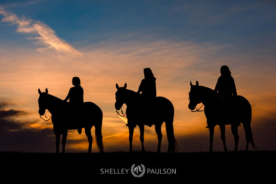 Three Sisters and their Pinto Show Horses