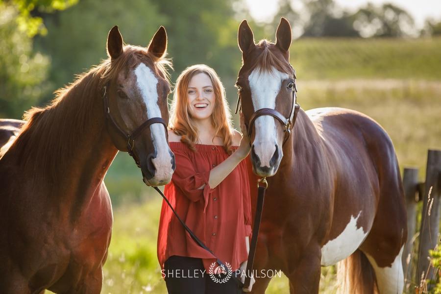 High School Senior girl with her horses.