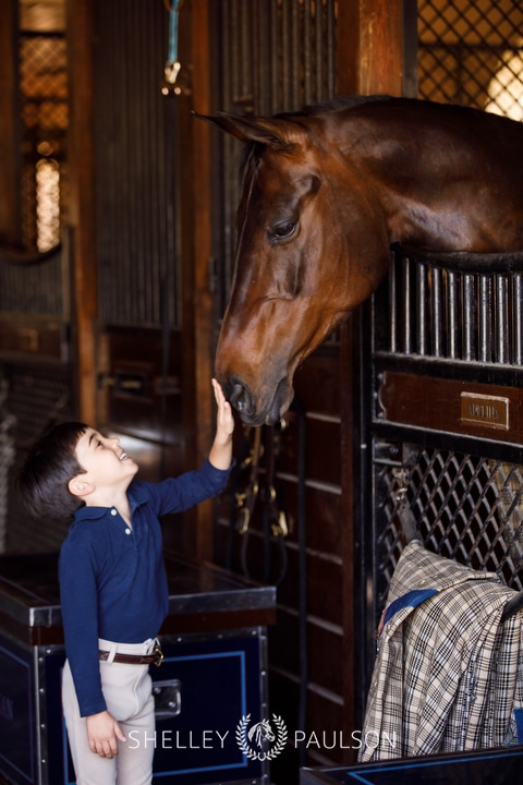 Photo of a boy petting a horse