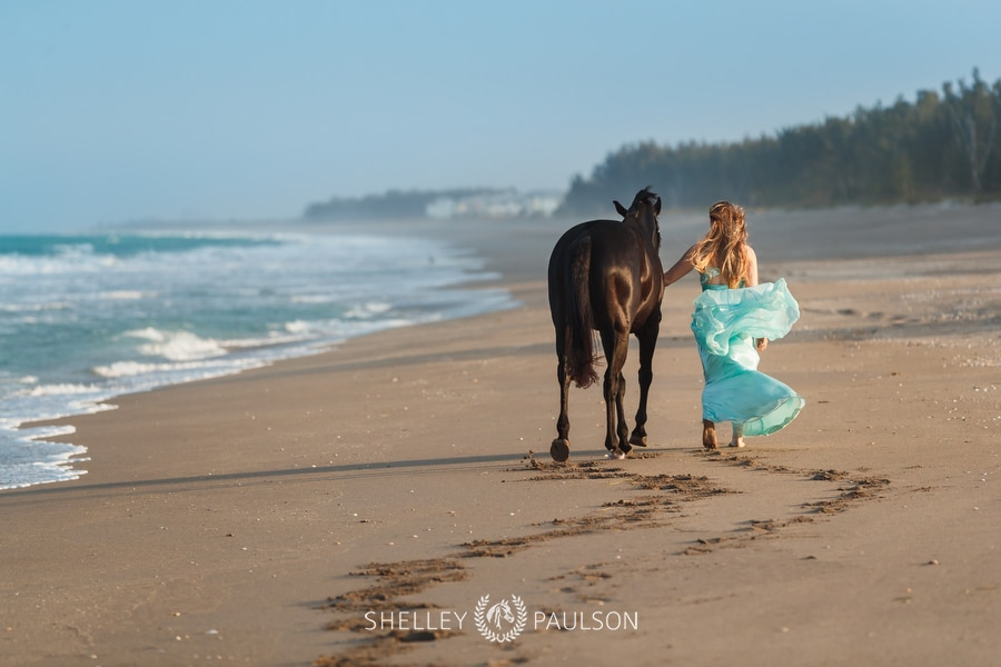 Girl walking with her horse on the beach